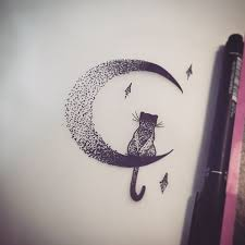 image result for cat and moon tats moon