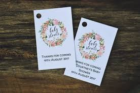 pink floral wreath baby shower tag template editable thank you