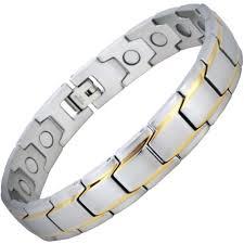 bracelet magnetic stainless steel images Luxury two toned mens stainless steel magnetic bracelet for arthritis jpg