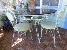 Wrought Iron Kitchen Tables by Vintage Ornate Gilt Metal Wrought Iron Patio Dining Table U0026 Chair