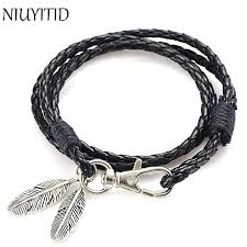 black man bracelet images Niuyitid black pu leather men bracelet silver feather accessories jpg