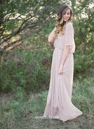 blush soft chiffon v neck short sleeve long simple evening dress