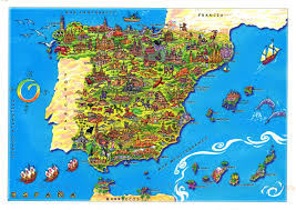 maps of spain large tourist illustrated map of spain spain europe mapsland