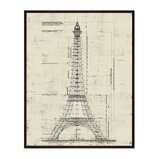 architectural blueprints architecture on canvas touch of modern la tour eiffel architectural drawing sepia 17 75