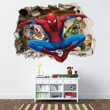 spiderman smashed wall sticker bedroom boys avengers vinyl wall