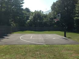 a great look at a backyard court making efficient use of concrete