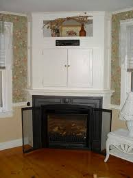 decor corner gas fireplace with wooden floor and wallpaper for