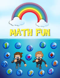 worksheet design for math with underwater background vector free