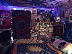 hippie bedroom aesthetic colorful decor grunge hipster indie room trippy