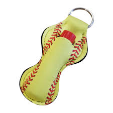 softball print neoprene chapstick holder