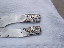 gold inlay engraving gary griffiths gun engraving knife bolsters engraved for william