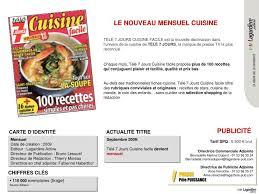 tele 7 jours recettes cuisine ppt mensuel date de création 2009 editeur lagardère active