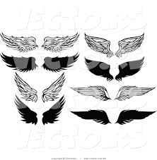 vector of 8 unique feathered wings black and white designs by