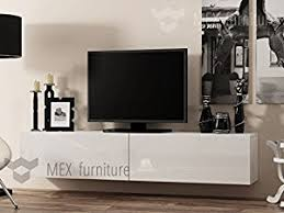 modern tv wall mounted cabinet 180 cm high gloss fronts white