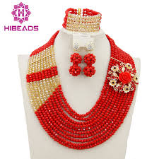 red crystal bead necklace images African wedding beads bridal jewelry sets red crystal nigerian jpg