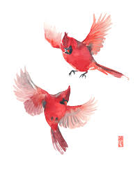 cardinal bird home decor two cardinals watercolor painting fine art giclee print