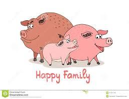 happy family fun cartoon pigs stock vector image 41011746