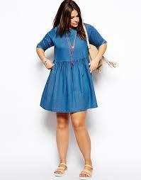 asos full skater dress in denim in blue lyst