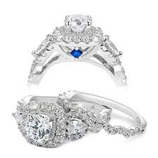 925 sterling silver engagement rings newshe 2 4ct pear white cz 925 sterling silver