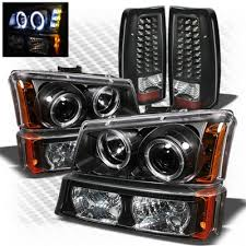 2004 silverado tail lights chevy silverado 2003 2006 black projector headlights bumper lights