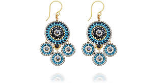 Wire Chandelier Earrings 1 Lyst Miguel Ases Blue Miyuki Bead Chandelier Earrings In Blue