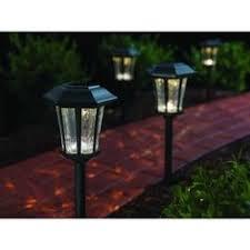 hampton bay square mission outdoor bronze led solar pathway light