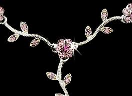 pink rhinestone necklace images Floral bridal silver pink jewelry set ne 383