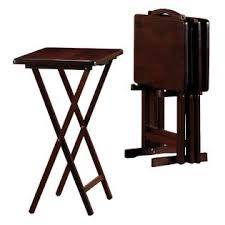 folding oversized wood tray table in espresso essential home 5 piece tray table set espresso