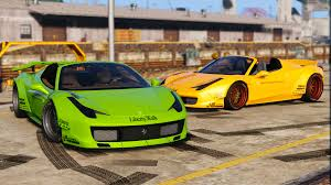 ferrari front png liberty walk ferrari 458 spider add on tuning livery gta5