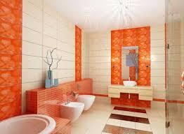 gestaltung badezimmer ideen schön fliesen für badezimmer orange keramikfliesen mit floral motiv