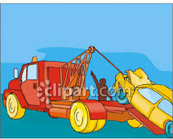 wrecked car clipart tow truck wrecker towing a wrecked car royalty free clipart picture