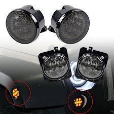 led lights for jeep wrangler jk amazon com combo for 2007 2017 jeep wrangler jk jku smoke lens