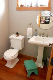 bathroom with wood trim sherwin williams functional gray wall