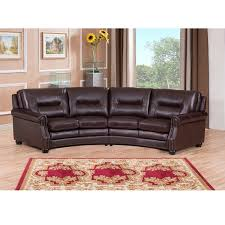 Free Sectional Sofa by Penn Chocolate Brown Curved Top Grain Leather Sectional Sofa