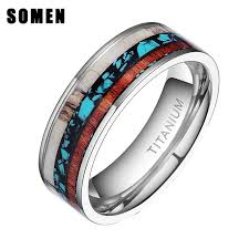 wedding rings men 8mm vintage wood antlers inlay titanium ring men engagement rings
