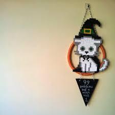 halloween wall art tea and craft perler bead witch kitty halloween wall art