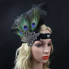 gatsby headband peacock feather flapper headband 1920s great gatsby headdress