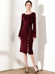 purplish red velvet midi dress with split trim