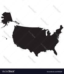 Black And White United States Map by Silhouette Map Of The United States Of America Vector Image