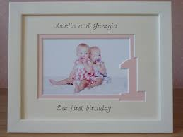 twins or triplets girls first birthday photo frame white 9 x 7
