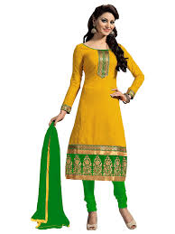 suit dress zombom women s cotton salwar suit dress material zbmdfm107 yellow