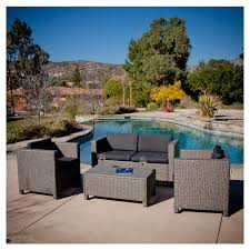 4 piece outdoor wicker resin patio furniture seating set with