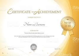 certificate of achievement template with environment theme gold