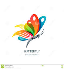 vector isolated illustration of colorful abstract butterfly