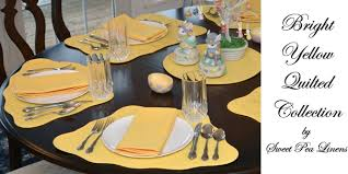 quilted placemats for round tables sweet pea linens bright yellow solid quilted placemats for round
