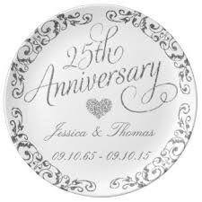 25th anniversary plates personalized 25th anniversary gifts on zazzle