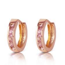 hoop huggie 1 3 ctw 14k solid gold hoop huggie earrings pink sapphire ebay