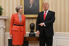 donald trump thanked by theresa may as winston churchill bust is