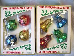 2 boxed sets bradford plastic ornaments mica bells balls