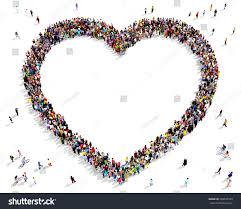 hundreds people seen above gathered together stock illustration